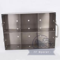 Емкость для сушки пробирок с перегородками 350х250х100 - вид спереди